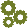 Icon of three gears