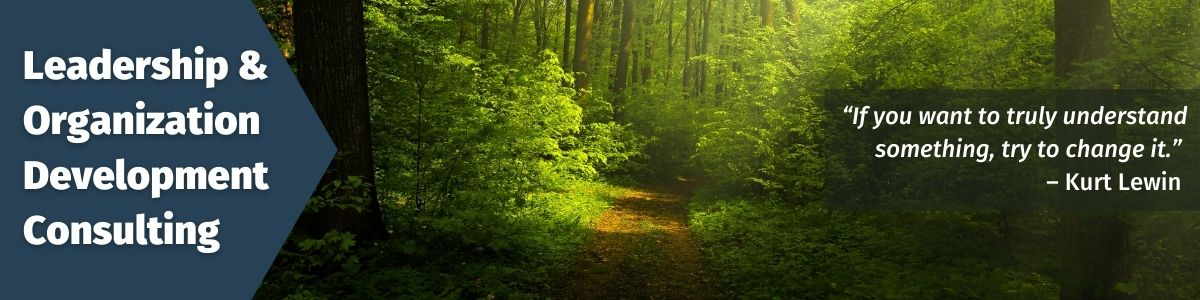 Leadership and Organization Development Consulting; Image of a path in a forest; Quote: If you want to truly understand something, try to change it. - Kurt Lewin