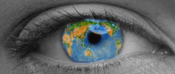 Image of an eye with the world in it
